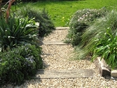 Garden steps with gravel and railway sleepers